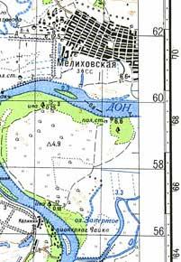 фрагмент карты реки Дон масштаба 1см=1км