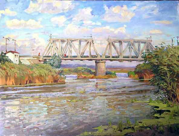 """Донская живопись. Картина """"Мост через Тузлов"""". Сиденин К.Е."""